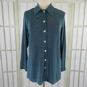 Coldwater Creek Slinky Blouse Button Front Medium